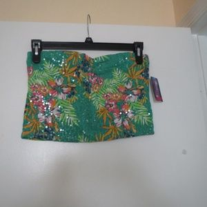 SIZE XL(JUNIOR)GREEN FLORAL TUBE TOP/CLEAR SEQUINS